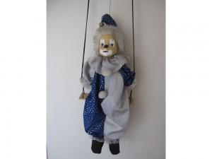 Pierrot clown en céramique sur balançoire à suspendre