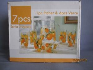 Service à Orangeade 7 pièces en verre